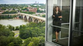Tamika Tremaglio in her office after building a successful career