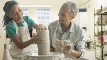 Grandmother and gr和daughter doing pottery