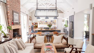 bright 和 airy kitchen with exposed beams
