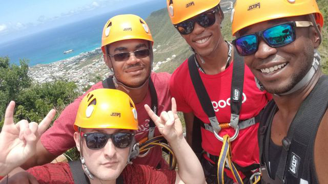 DeAndre 和 friends about to go ziplining in St. Maarten.