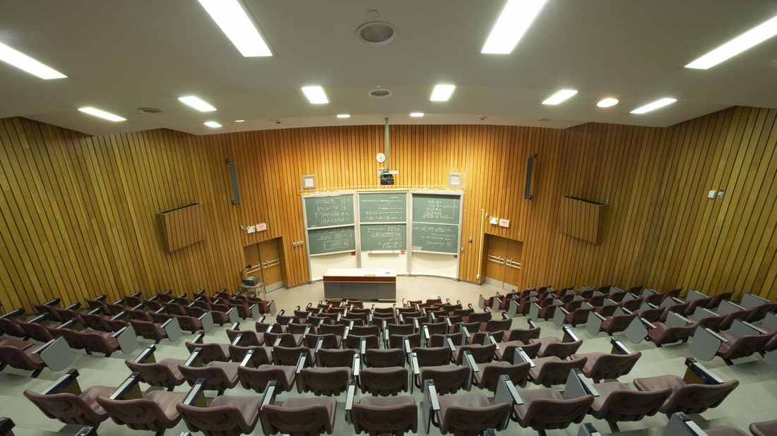 An empty lecture hall on a college campus