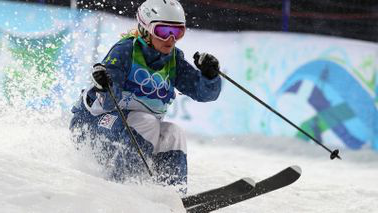 Michelle Roark skiing after using a mental trick that helps her compete