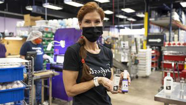 Debra Myers wearing face mask at Enfusia