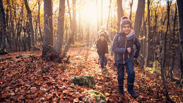 Kids playing in the leaves on a fall family vacation.